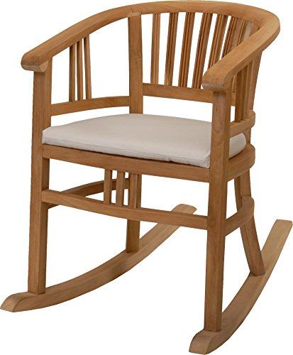 Krines Home Schaukelstuhl/Wippstuhl aus Teak-Holz mit Sitzpolster DE