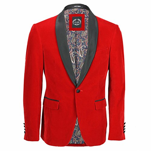 Chaleco de terciopelo rojo vintage de 3 piezas para hombre,