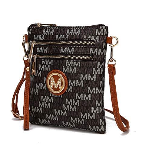 MKF Crossbody Bags for Women, Wristlet Strap – PU Leather Shoulder Handbag – Small Crossover Messenger Purse, Brown