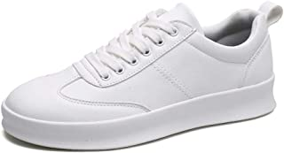 XUJW-Shoes, Fashion Sneaker for Men Sports Shoes Lace Up Style PU Leather Soft Round Toe Solid Colors Thick Heel Durable Comfortable Walking Shopping (Color : White, Size : 7.5 UK)