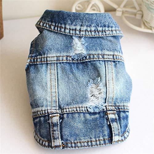 Atmungsaktive weiche kleine Haustier-Hundekleidung Haustier-Kleidung Hund Jeans Jacke Cool Blue Denim Mantel, for Small Medium Hunde Revers Westen Klassische Kleidung (L) (Color : Dark Blue)