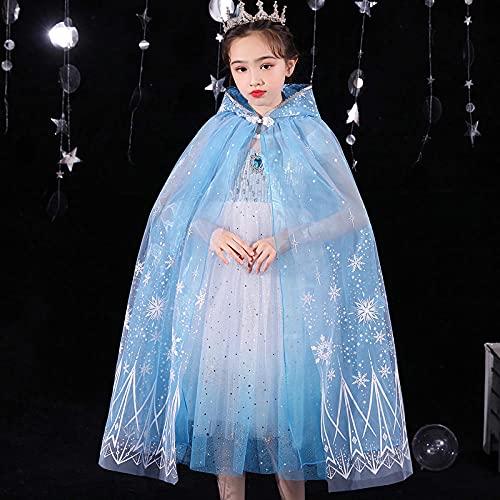 SUNXC Vestido Princesa de Ceremonia, Vestido de Princesa de Hielo y Nieve Vestido de Manga Corta Aisha-B_120cm, Princesa Traje Fiesta