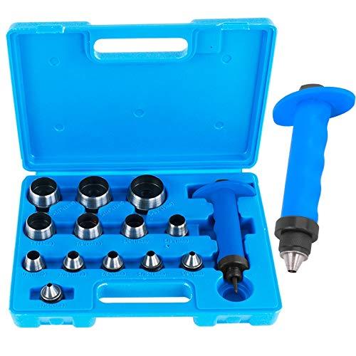 TECPO Locheisen Satz 14-teilig Loch Stanzen Henkellocheisen 5-35mm Lochstanzer Werkzeug