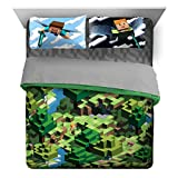 Jay Franco Minecraft Daytime 7 Piece Queen Bed Set - Includes Comforter & Sheet Set - Bedding Features Alex and Steve - Super Soft Fade Resistant Microfiber - (Official Minecraft Product)