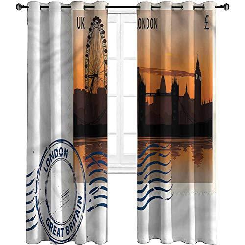 Jinguizi Soundproof Grommet Curtain London,UK Postcard Stamp Sketch Window Curtain 2 Panel 52 x 45 Inch