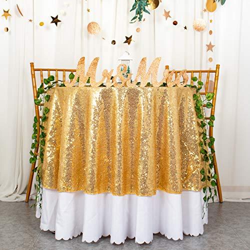 Mantel redondo dorado de 125 cm de lentejuelas de 125 cm, mantel de lino dorado, mantel de mesa de lentejuelas al aire libre para fiesta de jardín, decoración de baby shower D622