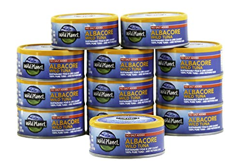 Wild Planet Wild Albacore Tuna, No Salt Added, Keto and Paleo, 3rd Party Mercury Tested, 5 Ounce, 12 Count (Pack of 1)