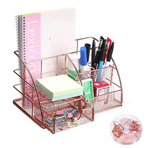 IWILCS Organizador de escritorio para oficina, organizador de escritorio, organizador de lápices, multifunción, de metal, para oficina, escuela y hogar, oro rosa