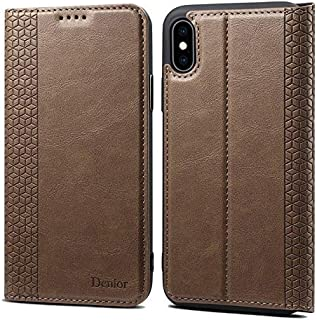 Phone Cases & Covers High Quality Leather Case, Folio Wallet Case with Card Holder, Kickstand and Built-in Magnetic Closure for iPhone Xs Max Slim Case Mobile Phone Cases (Color : Khaki)