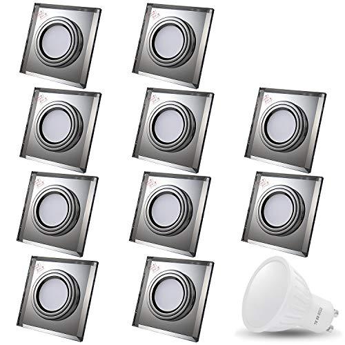 Downlight à encastrer LED en verre / miroir / clair CRISTAL Eckig Incl. 10 X 7W LED Blanc chaud 230V IP20 LED Spot de plafond Luminaire encastré Spot encastrable au plafond Spot encastré Spot de plafond encastré Spot de plafond