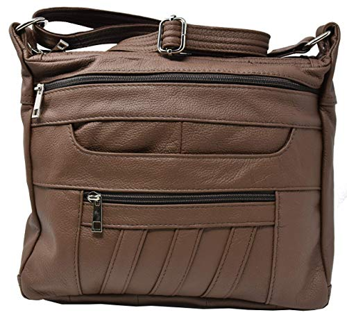 Buy Discount Crossbody Leather Locking Concealment Purse CCW Concealed Carry Gun Bag (Brown)