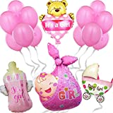Decoración de globos para Baby Shower de niña - Photocall rosa para adornar bautizo, Babyshower - Regalo Nacimiento bebé - Set de decoración de 16 piezas - Fiesta de bienvenida de niña recién nacida