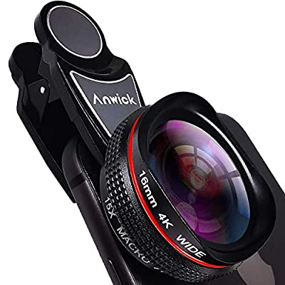 Cell Phone Camera Lens Kit Pro, 4K HD 2 in 1 120°Wide Angle Lens, 15X Super Macro Real-Time External Lens, Clip-On Smartphone Camera Lens for iPhone, Samsung, Pixel, Android by ningxiaxingchenxinmaoyiyouxiangongsi