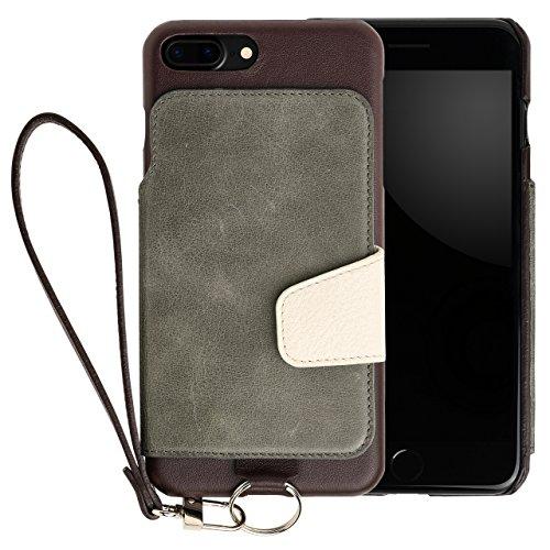 <iPhone8 Plus iPhone7 Plus> RAKUNI (ラクニ) 本革 背面フリップケース(インディゴ)財布いらず/便利な前面むきだし/ストラップ付き/スタンド機能