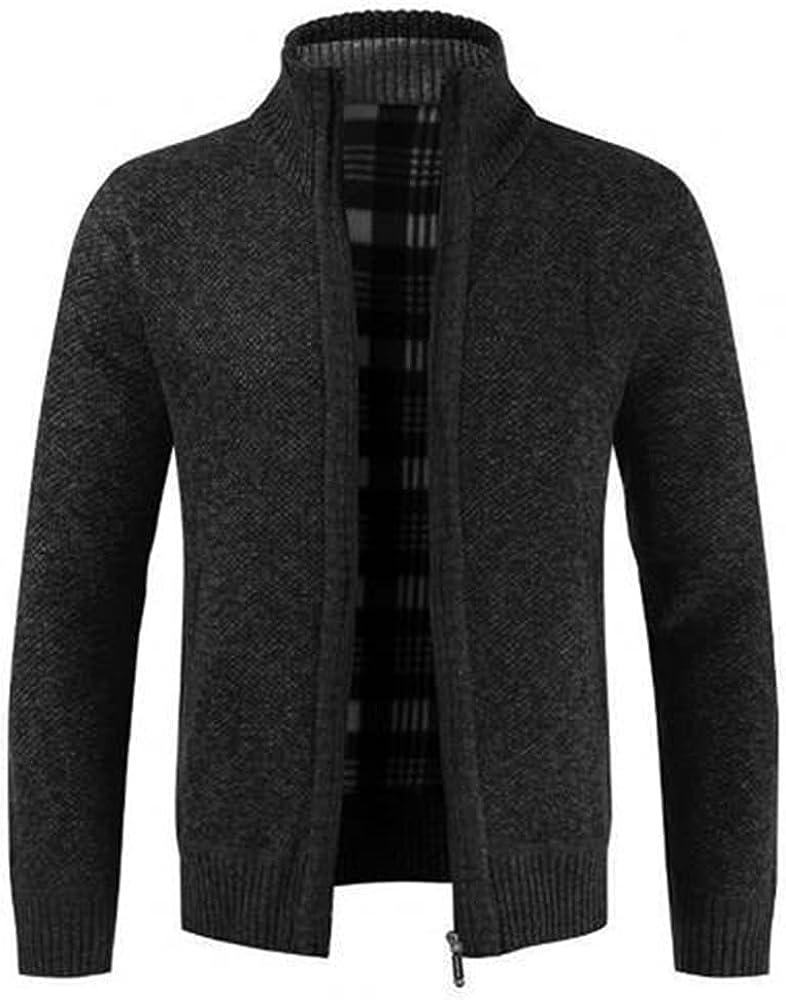 NP Autumn Winter Men Knitted Sweater Collar Liner Slim Coat Grey Black Men Outdoor