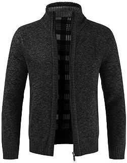 Herfst winter mannen gebreide trui kraag voering slanke jas grijze zwarte mannen