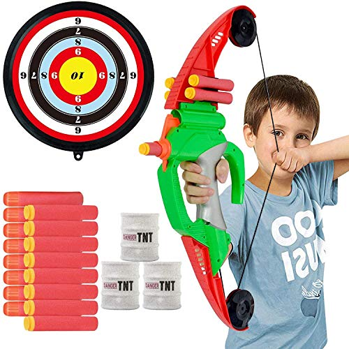 Archery Set Bow and Arrow for Kids - 18 inch Bow with Bullet Holder, 8 Foam Darts with Suction Cup,...