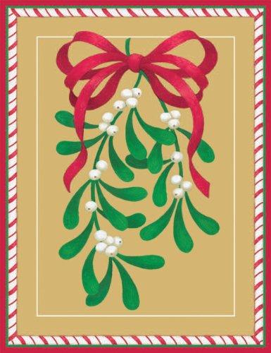 Entertaining with Caspari Mistletoe Christmas Cards with Unlined Envelopes, Box of 16
