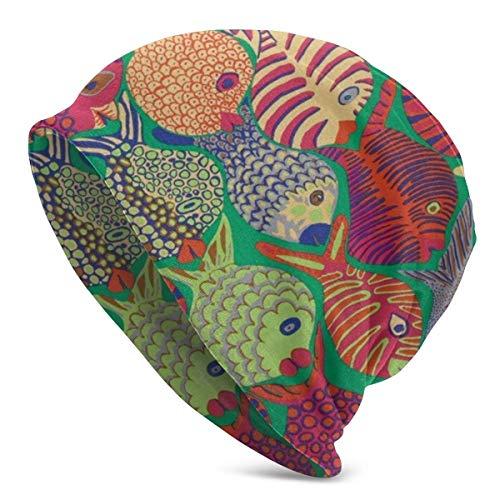 Viplili Fish Shoal Green Unisex Slouchy Beanie Skull Cap Stretchy Baggy Oversized Gebreide Hoed