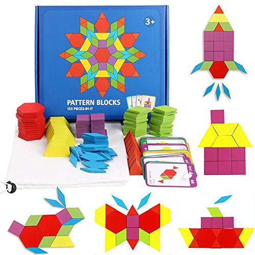 GoGlor Jouet Montessori Bebe Tangram en Bois 155 PCS Blocs De Puzzle pour Enfants, Jeu Jigsaw Puzzle Coloré Éducatif Géométrique Jeu De Mathematique avec 24 Cartes De Conception