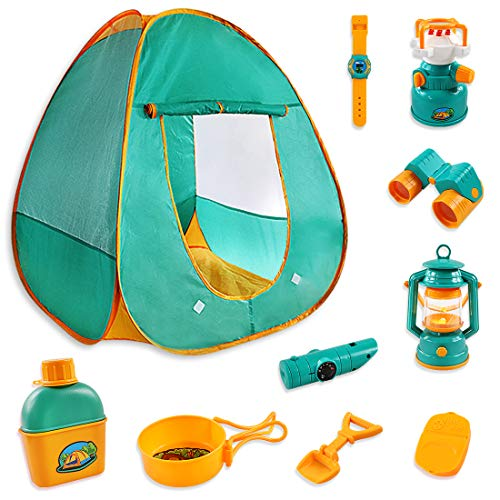 ZNCMRR Kids Camping Play Tent Gear Set with Pretend Equipment Tool Indoor Outdoor Toys for Toddlers