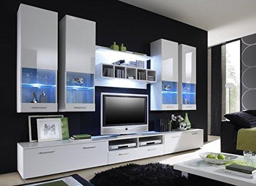 Sideboard in weiß mit bunten Absetzungen, 2 Türen und 6 Schubkästen, Maße: B/H/T ca. 127/82,5/42,5 cm