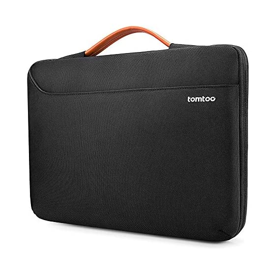 tomtoc Recycled Laptop Sleeve for 13-inch MacBook Air M1/A2337 2018-2021, MacBook Pro with USB-C M1/A2338 2016-2021, 12… 1 CornerArmor Patent Design - Protective CornerArmor patent design at the bottom of the case and 360° protective soft padding around inside protect your laptop from bumps in accident, just like the Car Airbag Stay Organized – Except the main compartment for your laptop, this case also features a second large zipper compartment for additional storage such as iPad mini, charger, power adaptors, cables, mouse and other accessories Ultra-Secure – Specially designed secure belt with Velcro inside the 180° opening main compartment protect your laptop from sudden drop. Ultra-thick protective cushioning interior ensures your laptop from bumps, dents, scratches and spills at all times