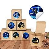Wishstar Calendario de Adviento, 24 Cajas de Regalo Navidad Cajas de Papel Kraft para Rellenar con Calendario de Adviento Casero, Caja de Regalo Navidad Decoración Navideña para el Hogar
