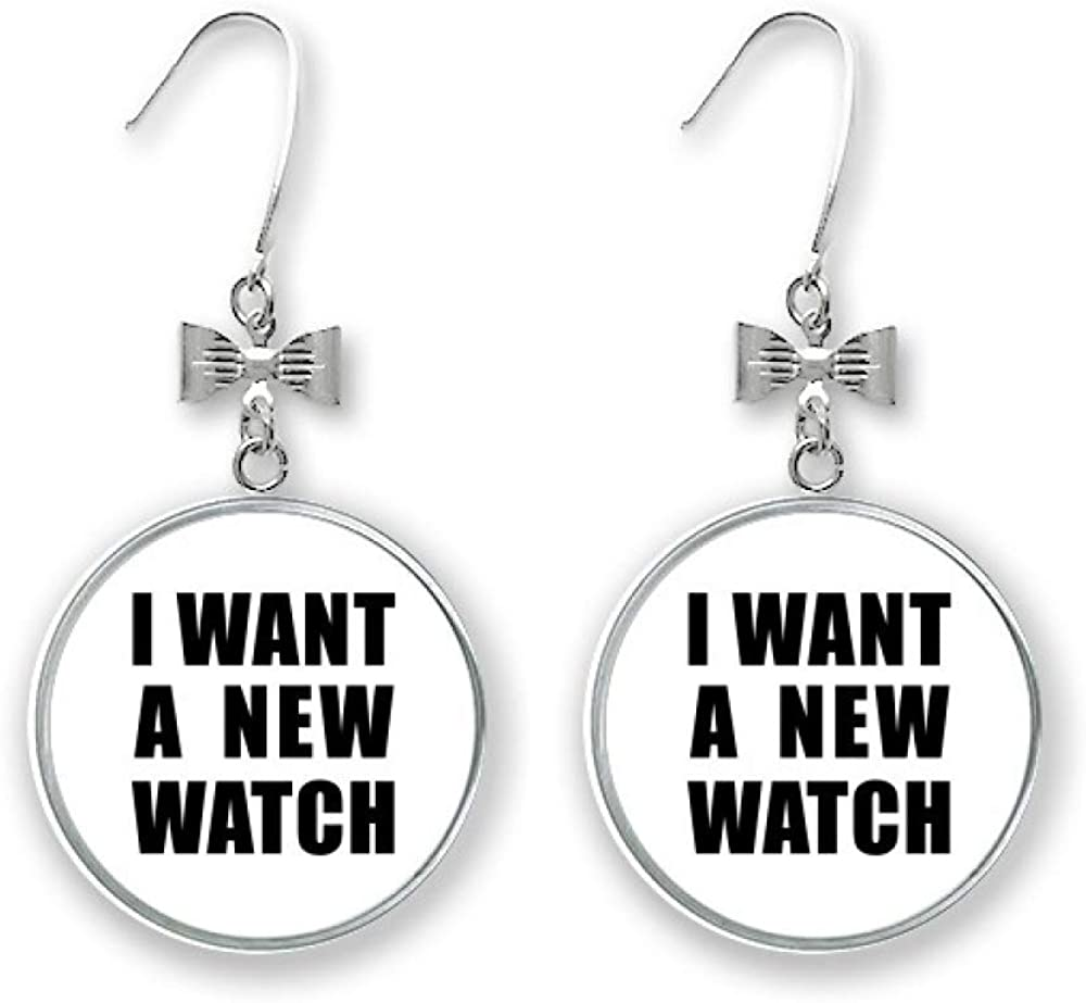 I Want A New Watch Art Courier shipping free Deco Popular brand in the world Drop Stud Fashion Earrings Gift Bow