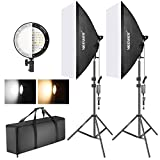 Neewer Photography Bi-color Dimmable LED Softbox Lighting Kit:20x27 inches...