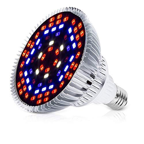50W LED Pflanzenlampe E27/E26 Grow Light, 78 LEDs Vollspektrum Pflanzenlicht, Sonnenähnlich Pflanzenlampen Wachstumslampe für Pflanzen Garten Gewächshaus Zimmerpflanzen