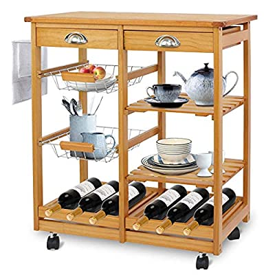 Epetlover 4-Shelf Kitchen Cart Rolling Dining Trolley Island on Wheels Wood Storage Utility Rack w/ 2 Drawers, Basket Stand, Shelves and Organizer by Epetlover