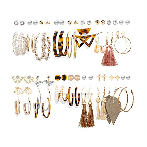 36 Pairs Fashion Tassel Earrings Set for Women Girls Bohemian Hoop Stud Drop Dangle Earrings Leather Leaf Earrings for Birthday/Party/Christmas/Friendship Gifts