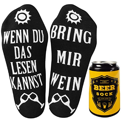UMIPUBO Socken WENN DU DAS LESEN KANNST, BRING MIR WEIN Deutsch und Englisch Witzige Geschenk Baumwoll-Socken Lustige Socken Bestes Geschenk für Weihnachten Valentinstag