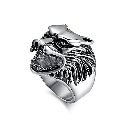 BOBIJOO JEWELRY - Anillo Anillo Anillo de Hombre con Cabeza de Lobo Animal Cabeza de Lobo de Plata de Acero Inoxidable - 29 (13 US), Acero Inoxidable 316