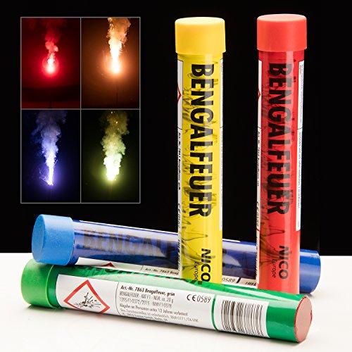 PartyMarty Bengalo Sparpack Multicolor Bengalfeuer im Bunten 4er Set Rot Gelb Grün und Blau GmbH®
