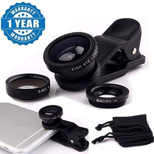 TEQNEQ 3 in 1 (Wide+Macro+Fisheye) Clip Lens Mobile Camera Lens Kit for iPhone, Samsung and Other Smartphones