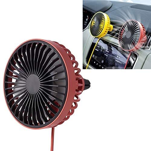 Calentador, portátil de salida de aire del coche ventilador de refrigeración eléctrico con luz LED Gjh PingGongHuaKeJiYouXianGongSi (color: rojo)
