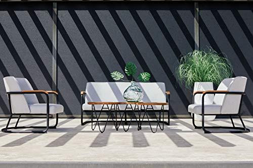 Hartman Studio 54 - Conjunto de muebles de jardín (4 personas, 1 mesa redonda y 2 mesas), color negro y gris