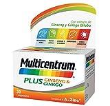 Multicentrum Plus, Complemento Alimenticio con 13 Vitaminas, 8 Minerales, Ginseng y Ginkgo Biloba, para Adultos a partir de 18 años - 30 Comprimidos
