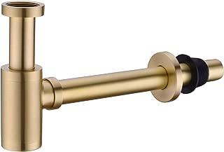 GORDEE Bathroom Brass Contemporary Round Bottle P Trap 1-1/4, Lavatory Adjustable Basin Sink Waste Drain P-Trap Kit, General US Standard, Gold
