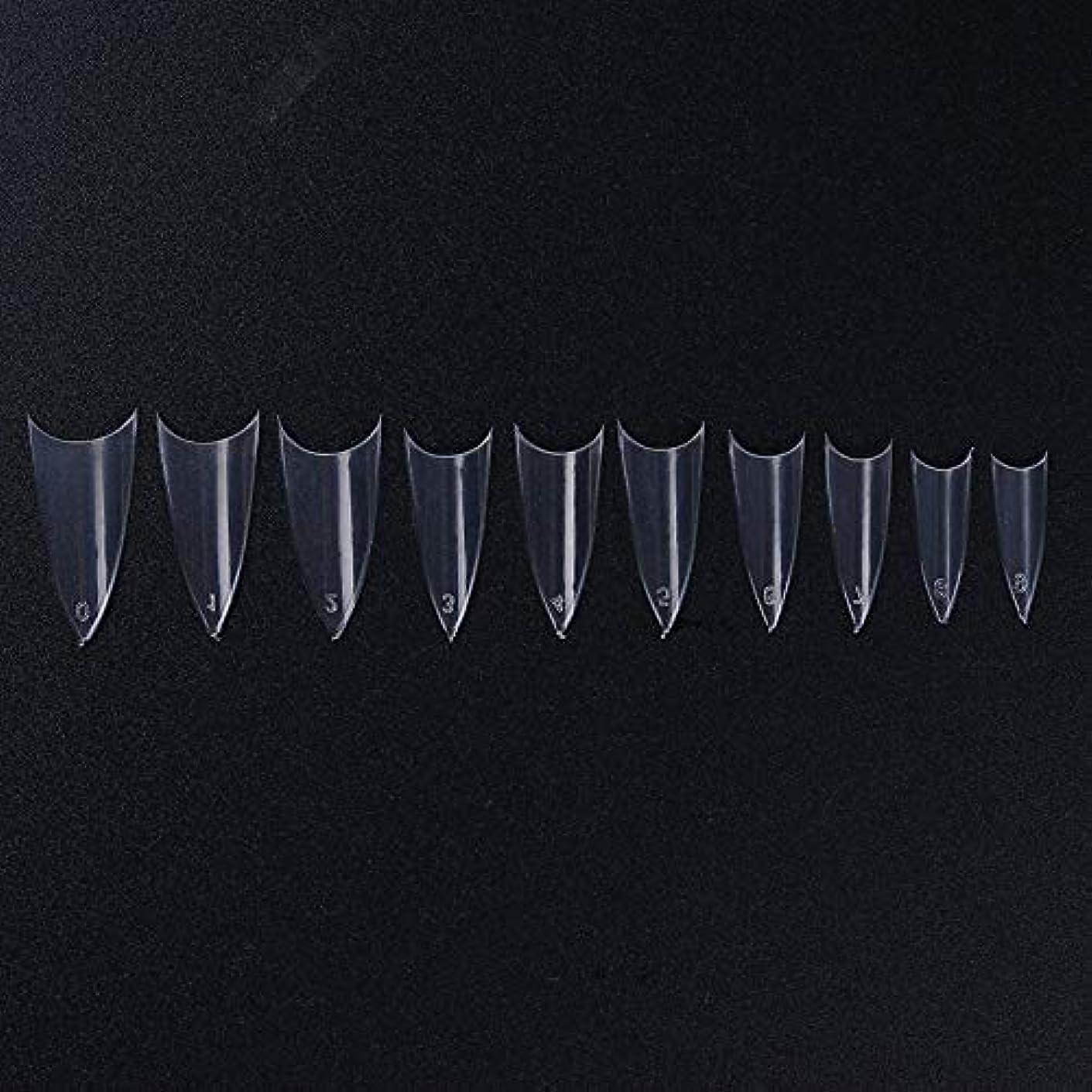トリップ値するペットFidgetGear 500個のフレンチハーフ偽ネイルのヒントシャープポインテッドクリアホワイトナチュラル10サイズ クリア