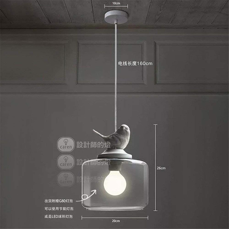 WHKHY Lampe Anhnger Flutlicht Nordic Hotel Chrome Professionelle Kinder 'S Zimmer Balkon Eingang Treppen Glas Einzigen Kopf Vogel Kronleuchter, 20  26 cm