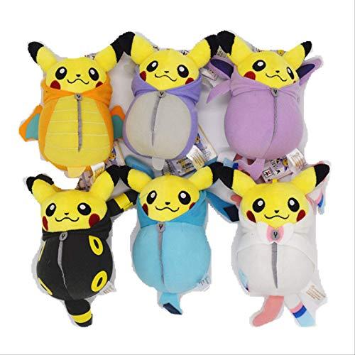 6 Stück Set Pokemon Puppe Plüsch Spielzeug Schlafsack Pikachu Pocket Monster Plüschtier Kinder Geschenke 16cm Laimi