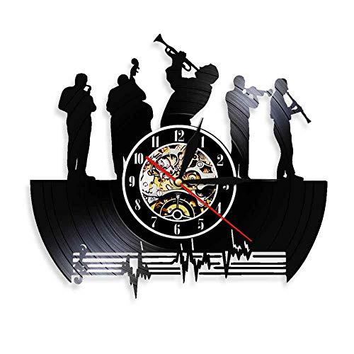 WJHXYD Saxofoon Jazz Music Band geluidsplaat Wandklok Klassieke Jazzmuziek