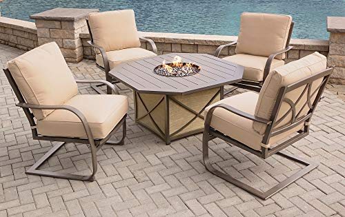 Learn More About CC Outdoor Living 5-Piece Aluminum Octagonal Smoke Gray Gas Fire Pit Table Set w/Ta...