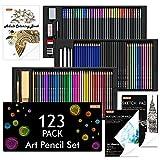 Shuttle Art 123 Pack Art Pencil Set, 36 Watercolor Pencils,36 Oil Based Pencils,12 Sketch Pencils,12 Metallic Color Pencils,12 Charcoal Pencils,15 Pieces Drawing Kit, Great Gift for Kids Adults