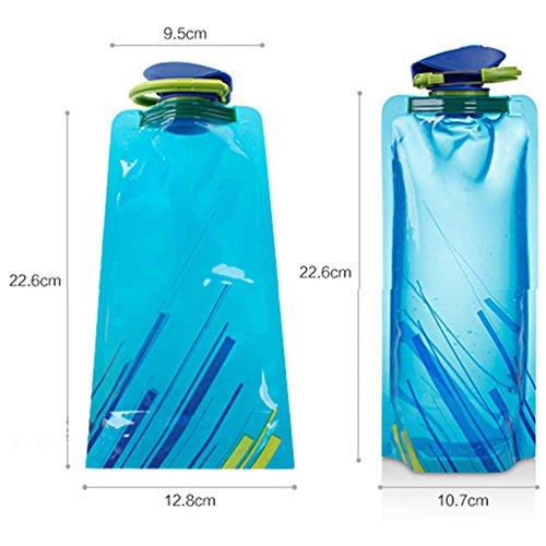 YoMaris Unisex Adult 700ML Faltbare Set von 3 mit CE, ROHS Zertifikate, Zusammenklappbare Flexible Wiederverwendbare Wasserflasche zum Wandern, Abenteuer, Reisen - 4