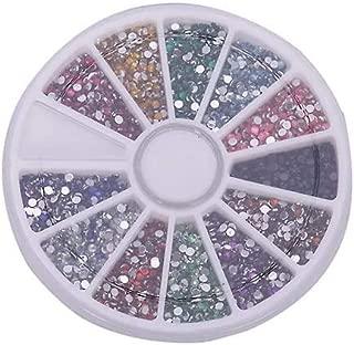 12 Colors 500 Pcs 2.0mm Glitter Tips Rhinestones Gems Round Wheel Nail Art Decor zhaoyun