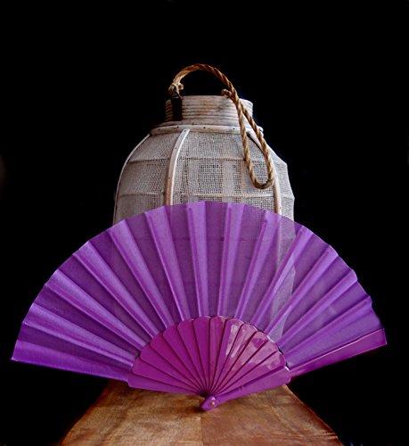 "Quasimoon PaperLanternStore.com 9"" Violet Nylon Hand Fans for Weddings (10 Pack)"